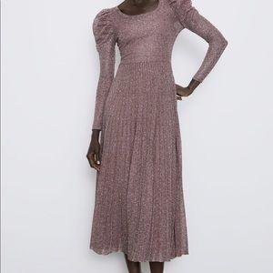 Zara purple dress metallic purple midi Balloon Sl